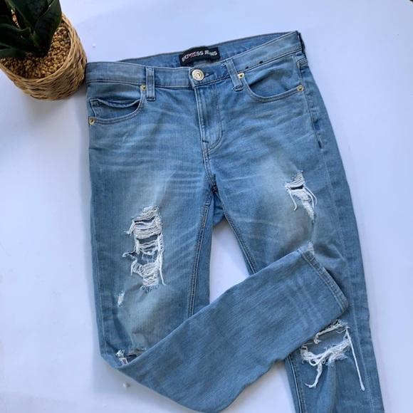 ⚡️$10 JEANS SALE⚡️Express Girlfriend Jeans Distressed Sz 0